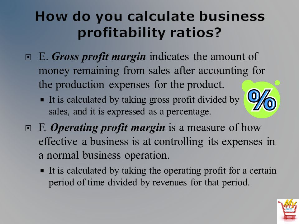 E. Gross profit margin indicates the amount of money remaining from sales after accounting for the production expenses for the product. It is calculat
