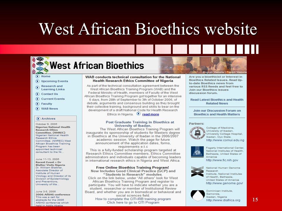 15 West African Bioethics website