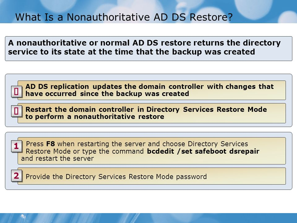 What Is a Nonauthoritative AD DS Restore? A nonauthoritative or normal AD DS restore returns the directory service to its state at the time that the b