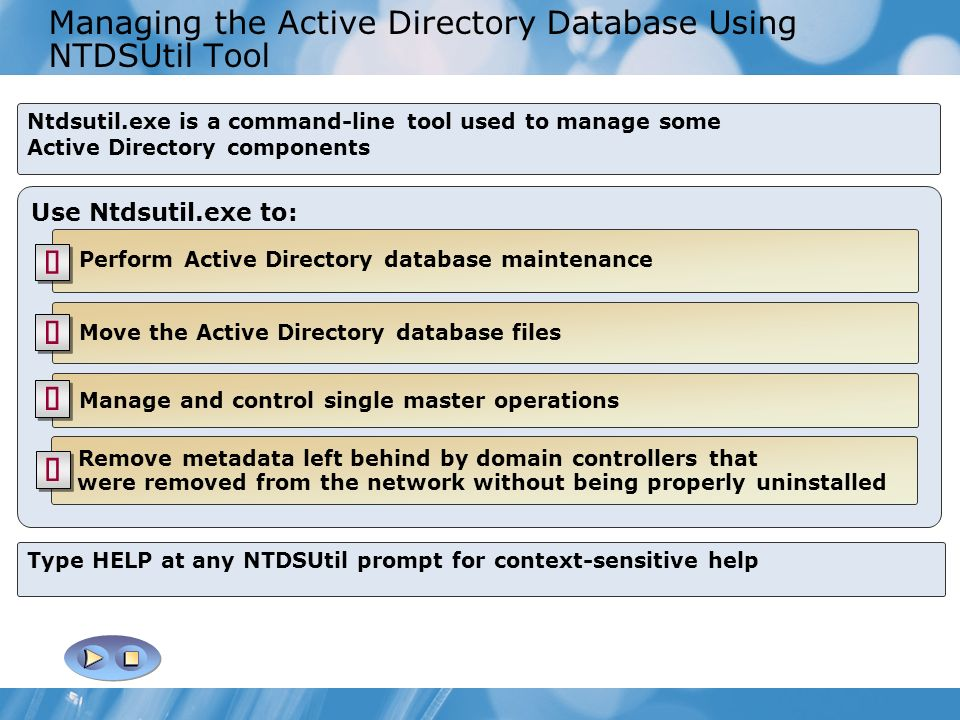 Managing the Active Directory Database Using NTDSUtil Tool Ntdsutil.exe is a command-line tool used to manage some Active Directory components Use Ntd