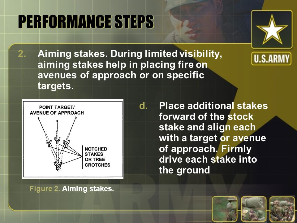 PERFORMANCE STEPS 2.Aiming stakes. During limited visibility, aiming stakes help in placing fire on avenues of approach or on specific targets. d.Plac