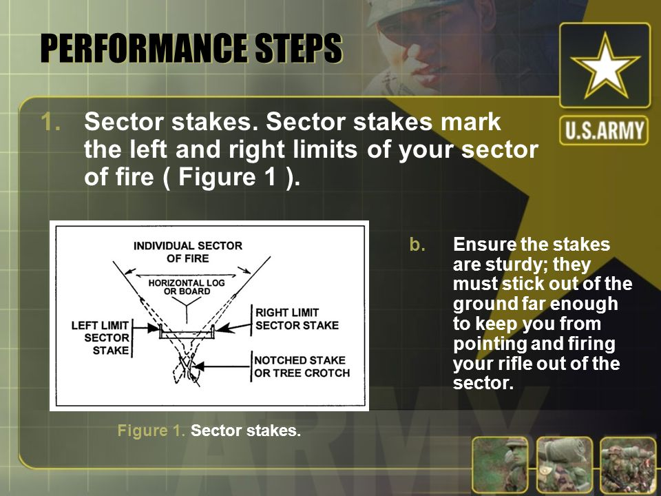 PERFORMANCE STEPS 1.Sector stakes. Sector stakes mark the left and right limits of your sector of fire ( Figure 1 ). b.Ensure the stakes are sturdy; t