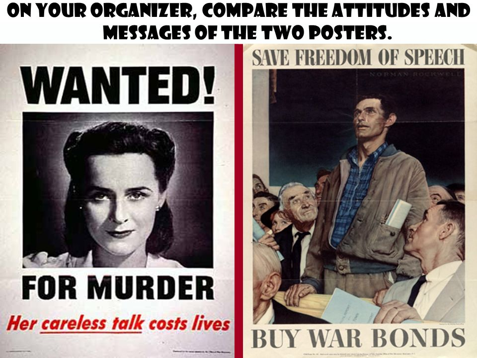 On your organizer, compare the attitudes and messages of the two posters.