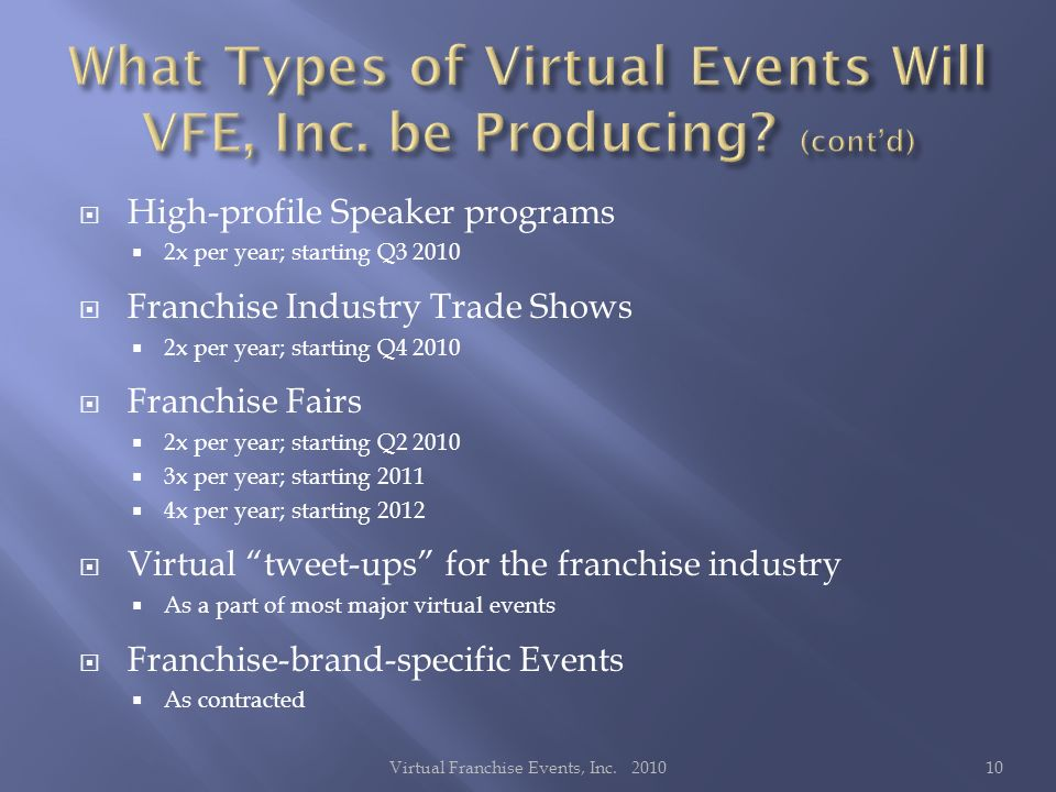 High-profile Speaker programs 2x per year; starting Q3 2010 Franchise Industry Trade Shows 2x per year; starting Q4 2010 Franchise Fairs 2x per year; starting Q2 2010 3x per year; starting 2011 4x per year; starting 2012 Virtual tweet-ups for the franchise industry As a part of most major virtual events Franchise-brand-specific Events As contracted 10Virtual Franchise Events, Inc.
