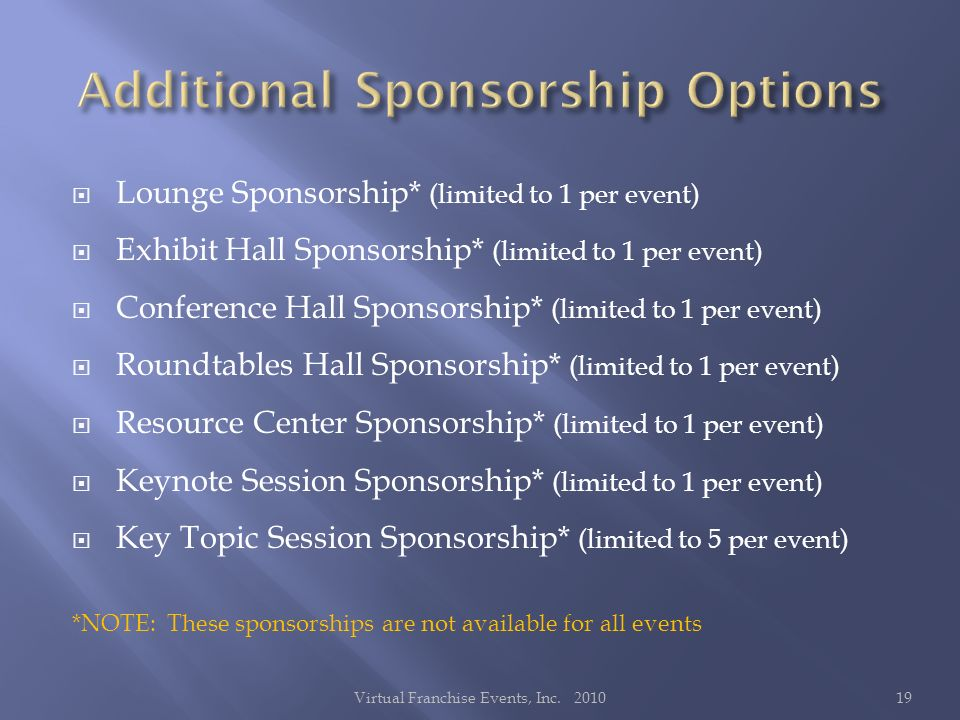 Lounge Sponsorship* (limited to 1 per event) Exhibit Hall Sponsorship* (limited to 1 per event) Conference Hall Sponsorship* (limited to 1 per event) Roundtables Hall Sponsorship* (limited to 1 per event) Resource Center Sponsorship* (limited to 1 per event) Keynote Session Sponsorship* (limited to 1 per event) Key Topic Session Sponsorship* (limited to 5 per event) *NOTE: These sponsorships are not available for all events 19Virtual Franchise Events, Inc.