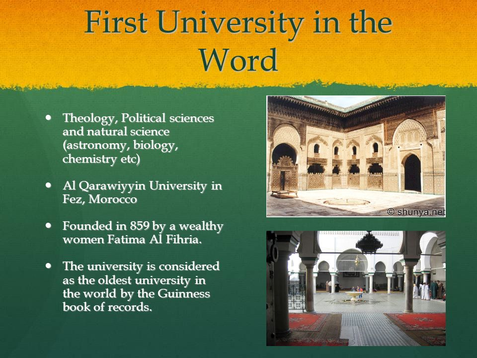 First University in the Word Theology, Political sciences and natural science (astronomy, biology, chemistry etc) Theology, Political sciences and nat
