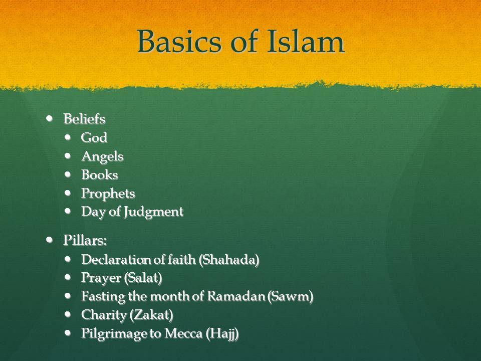 Basics of Islam Beliefs Beliefs God God Angels Angels Books Books Prophets Prophets Day of Judgment Day of Judgment Pillars: Pillars: Declaration of f