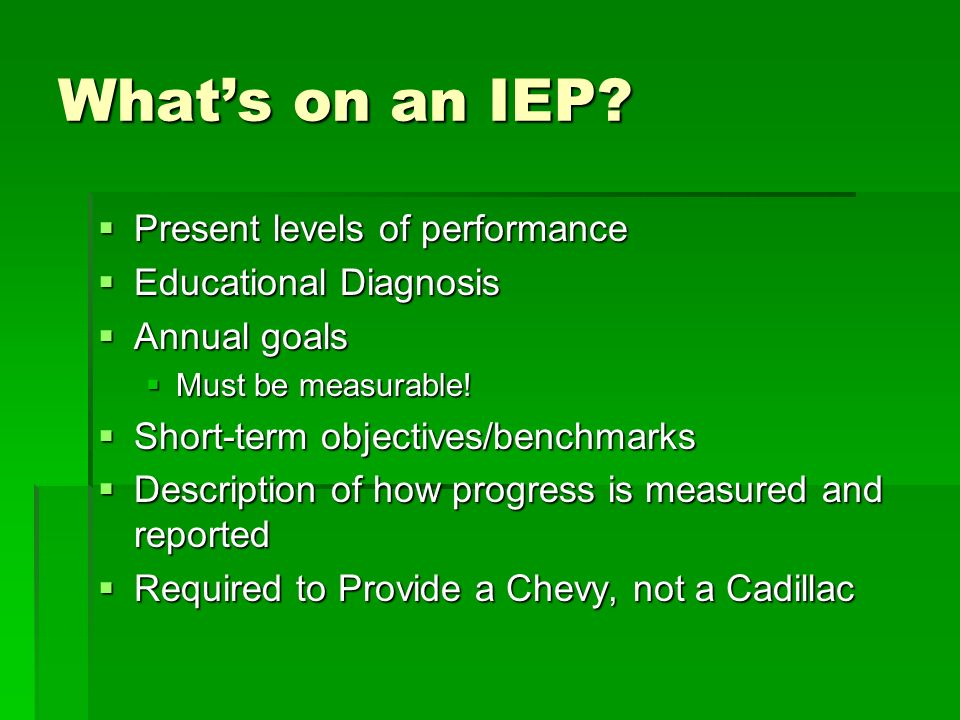 Whats on an IEP? Present levels of performance Present levels of performance Educational Diagnosis Educational Diagnosis Annual goals Annual goals Mus