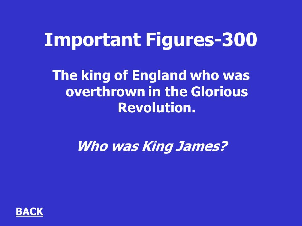 Important Figures-300 The king of England who was overthrown in the Glorious Revolution.