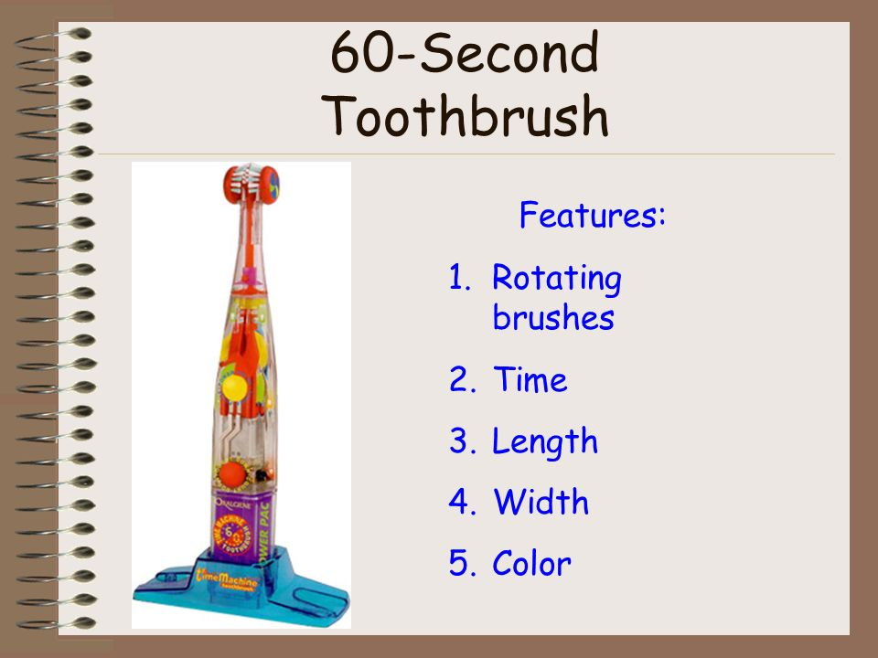 60-Second Toothbrush Features: 1.Rotating brushes 2.Time 3.Length 4.Width 5.Color