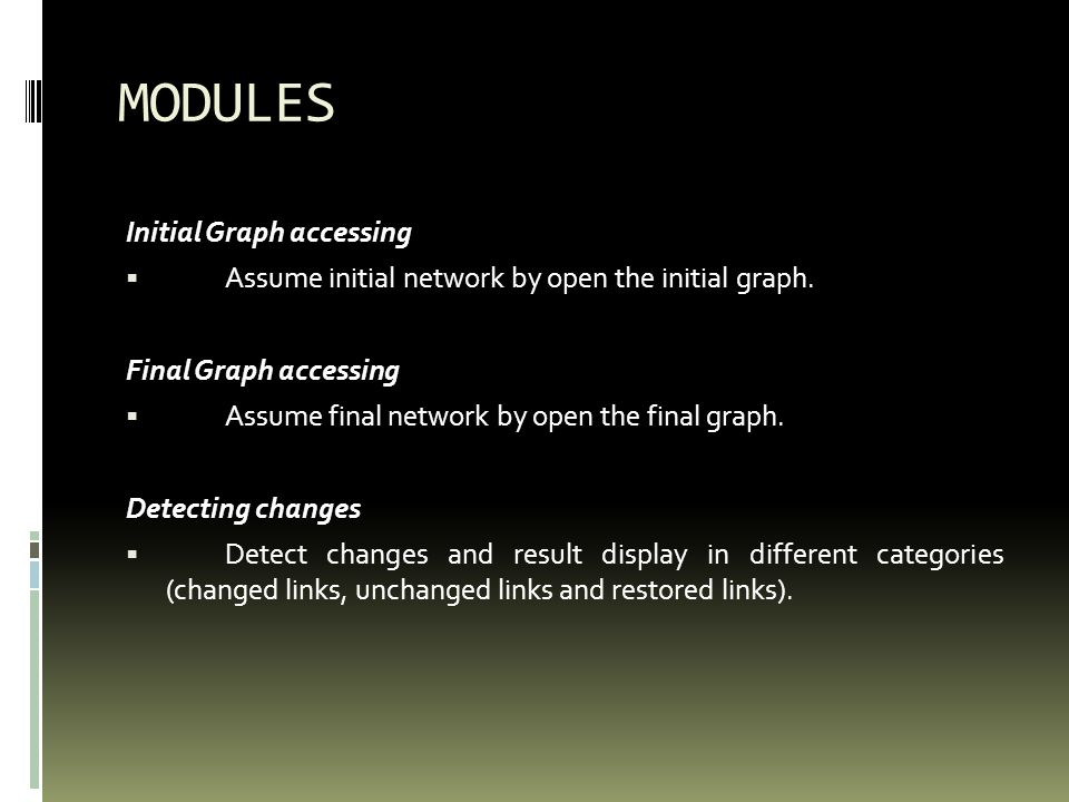 MODULES Initial Graph accessing Assume initial network by open the initial graph.
