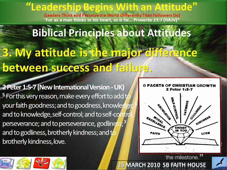 Biblical Principles about Attitudes 3. My attitude is the major difference between success and failure. 2 Peter 1:5-7 (New International Version - UK)
