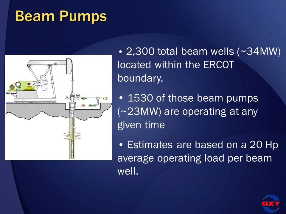 Beam Pumps 2,300 total beam wells (~34MW) located within the ERCOT boundary. 1530 of those beam pumps (~23MW) are operating at any given time Estimate
