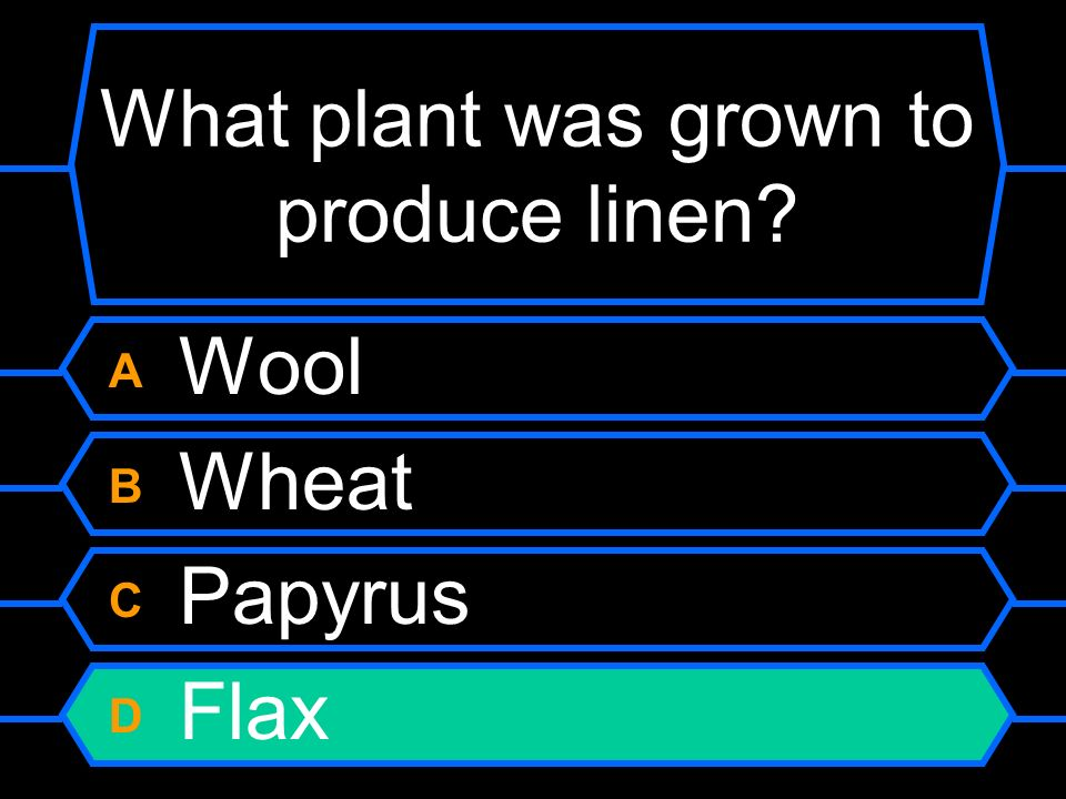What plant was grown to produce linen? A Wool B Wheat C Papyrus D Flax