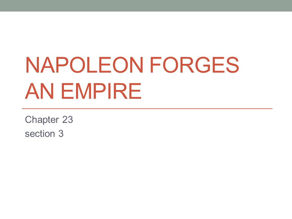 NAPOLEON FORGES AN EMPIRE Chapter 23 section 3