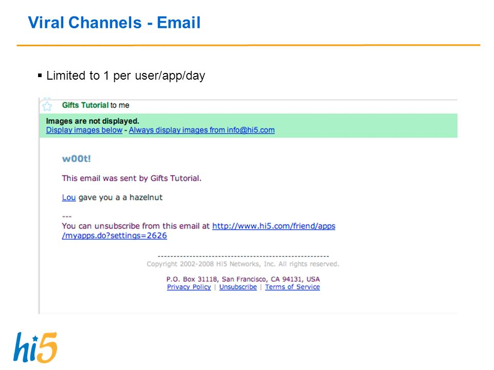 Viral Channels - Email Limited to 1 per user/app/day