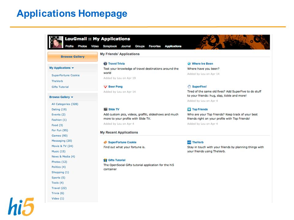 Applications Homepage
