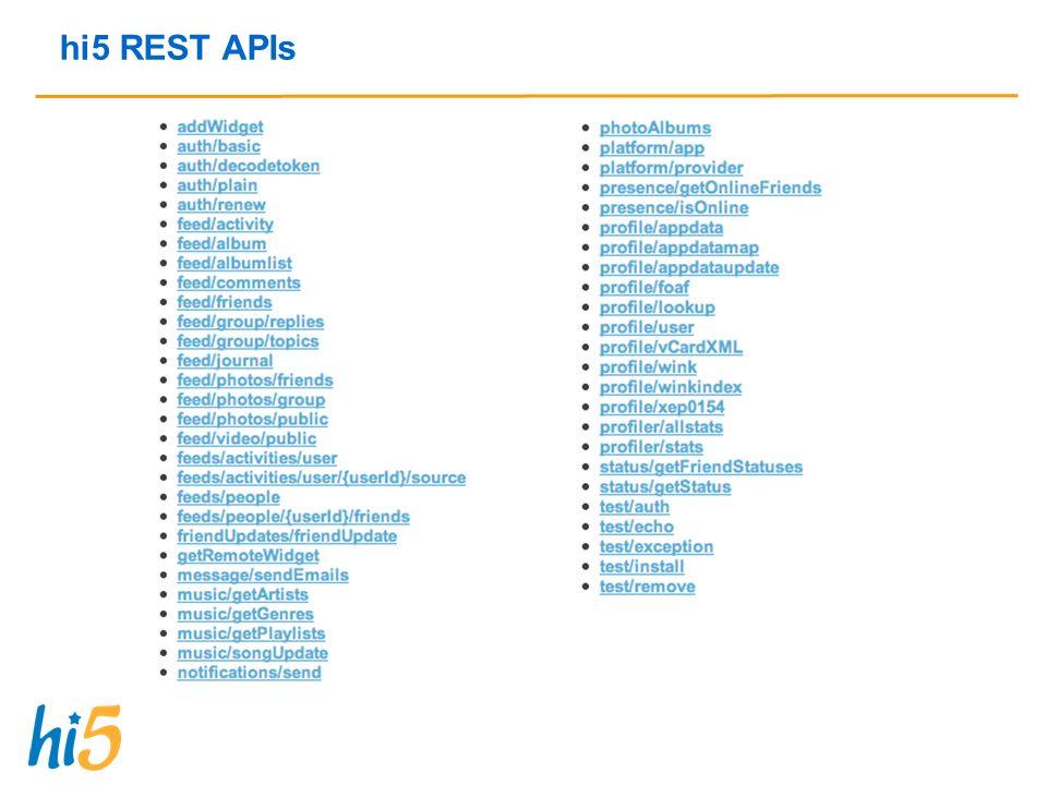 hi5 REST APIs