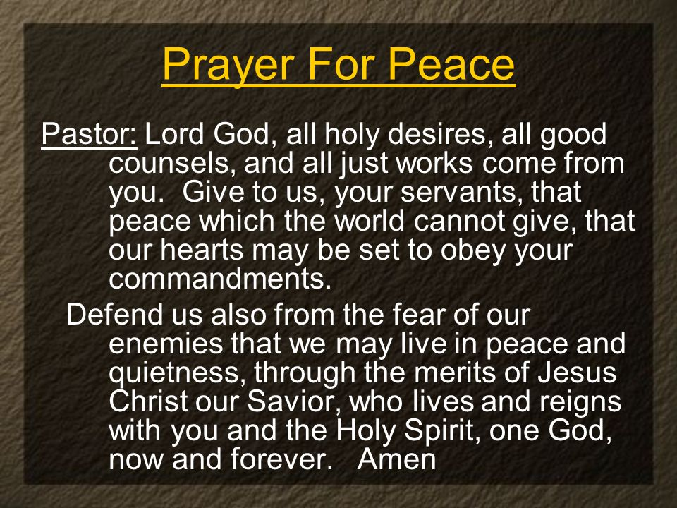 Pastor: Lord God, all holy desires, all good counsels, and all just works come from you. Give to us, your servants, that peace which the world cannot