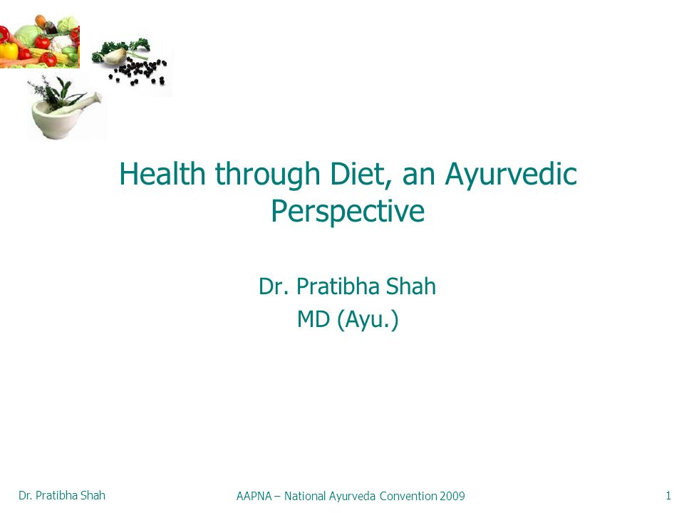 Dr. Pratibha Shah AAPNA – National Ayurveda Convention 2009 1 Health through Diet, an Ayurvedic Perspective Dr. Pratibha Shah MD (Ayu.)