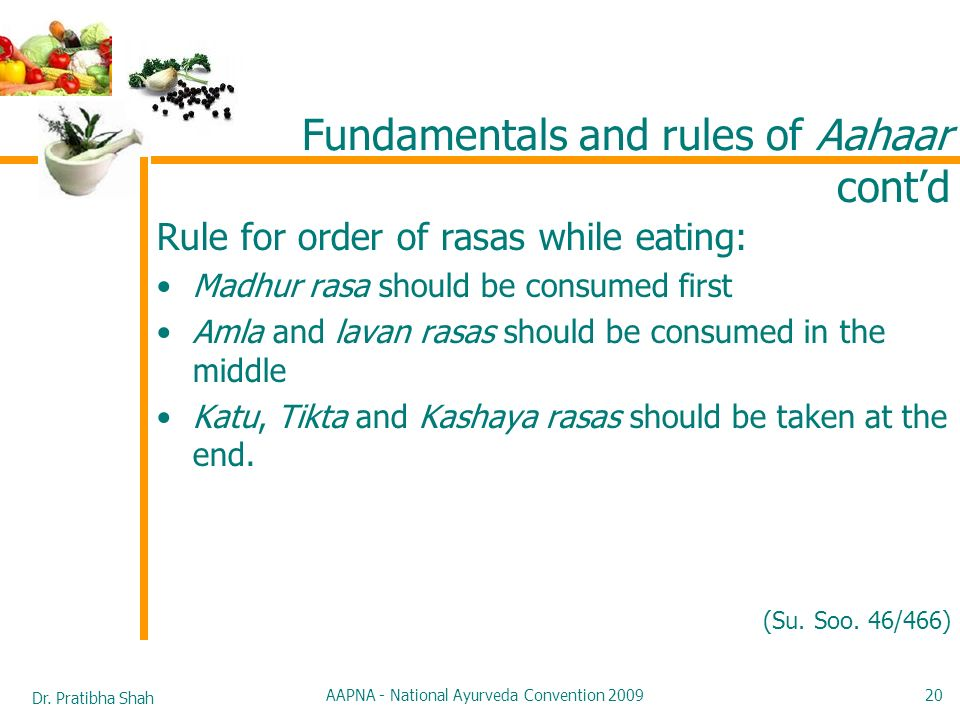 Dr. Pratibha Shah AAPNA - National Ayurveda Convention 2009 20 Rule for order of rasas while eating: Madhur rasa should be consumed first Amla and lav