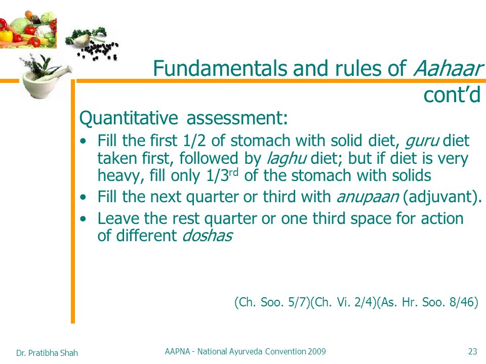 Dr. Pratibha Shah AAPNA - National Ayurveda Convention 2009 23 Quantitative assessment: Fill the first 1/2 of stomach with solid diet, guru diet taken