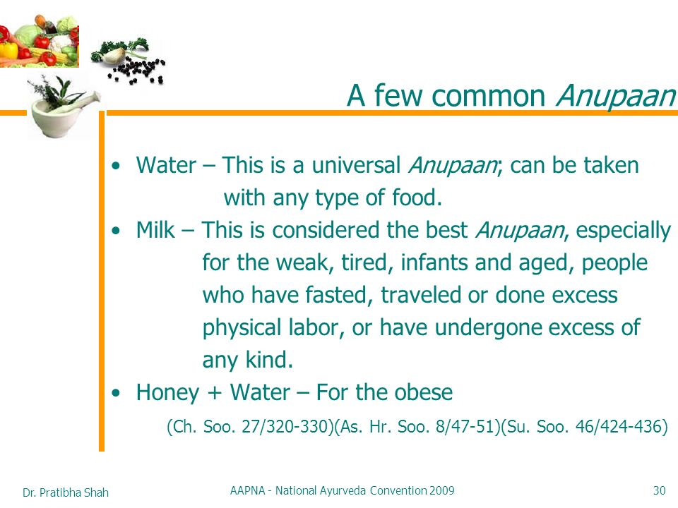 Dr. Pratibha Shah AAPNA - National Ayurveda Convention 2009 30 A few common Anupaan Water – This is a universal Anupaan; can be taken with any type of