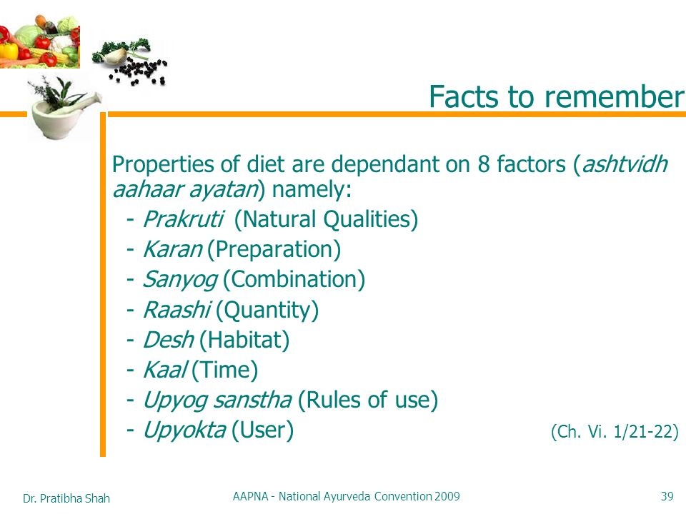Dr. Pratibha Shah AAPNA - National Ayurveda Convention 2009 39 Facts to remember Properties of diet are dependant on 8 factors (ashtvidh aahaar ayatan