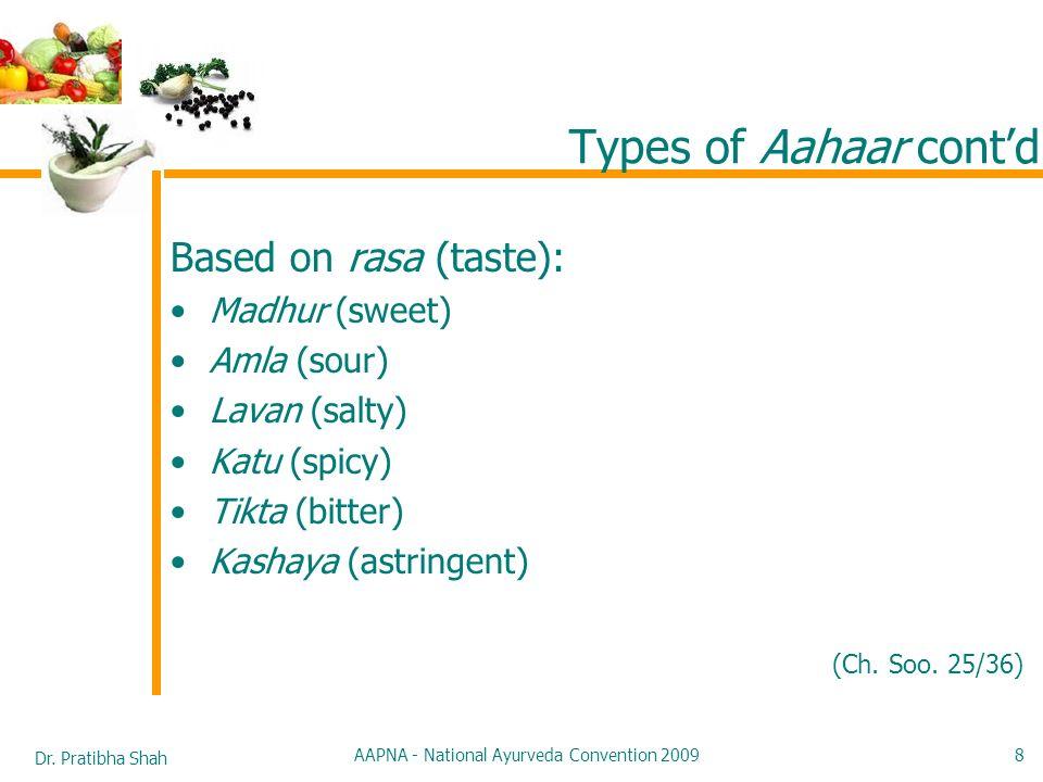 Dr. Pratibha Shah AAPNA - National Ayurveda Convention 2009 8 Types of Aahaar contd Based on rasa (taste): Madhur (sweet) Amla (sour) Lavan (salty) Ka