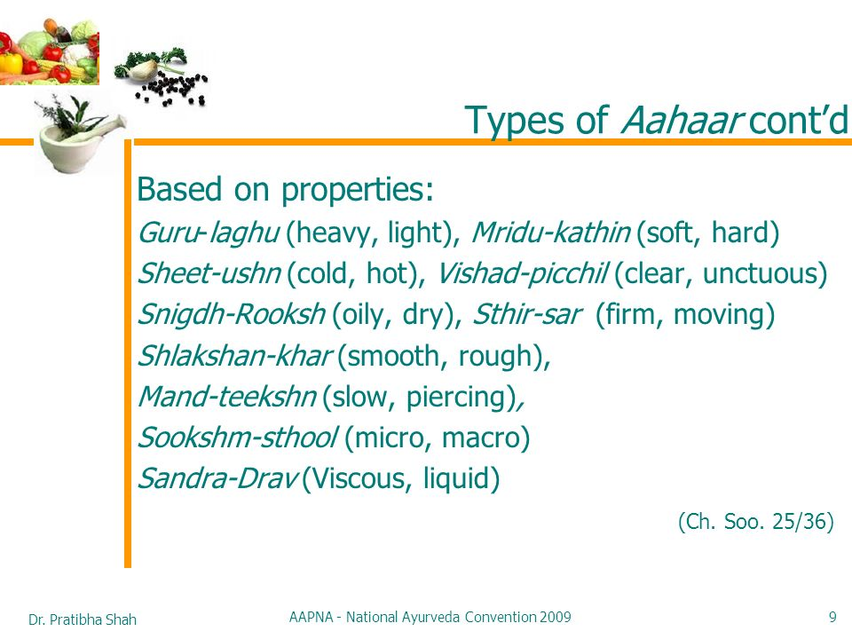 Dr. Pratibha Shah AAPNA - National Ayurveda Convention 2009 9 Types of Aahaar contd Based on properties: Guru-laghu (heavy, light), Mridu-kathin (soft
