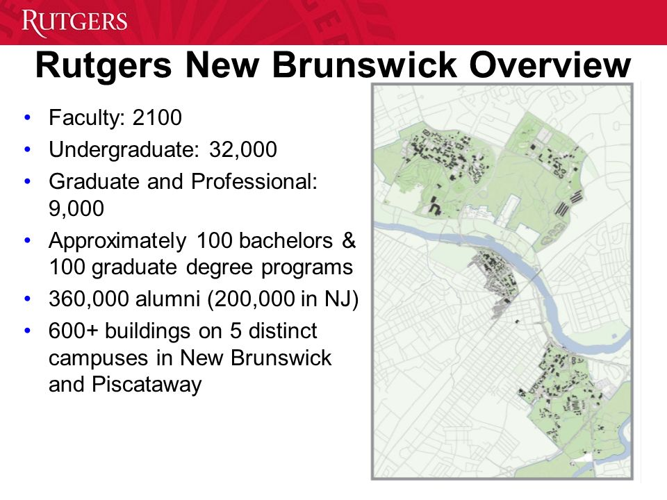 Rutgers New Brunswick Overview Faculty: 2100 Undergraduate: 32,000 Graduate and Professional: 9,000 Approximately 100 bachelors & 100 graduate degree