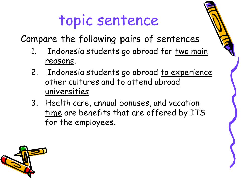 How to develop a paragraph A common deductive paragraph should be developed by the inter- connected parts TOPIC SENTENCE Usually written at the first