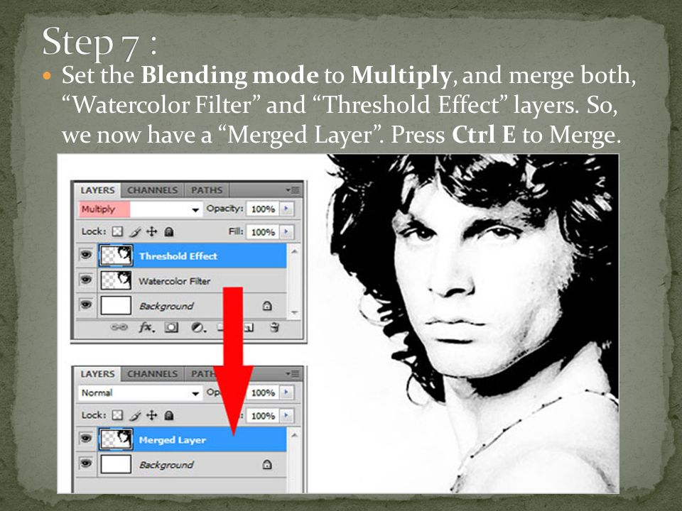 Set the Blending mode to Multiply, and merge both, Watercolor Filter and Threshold Effect layers.