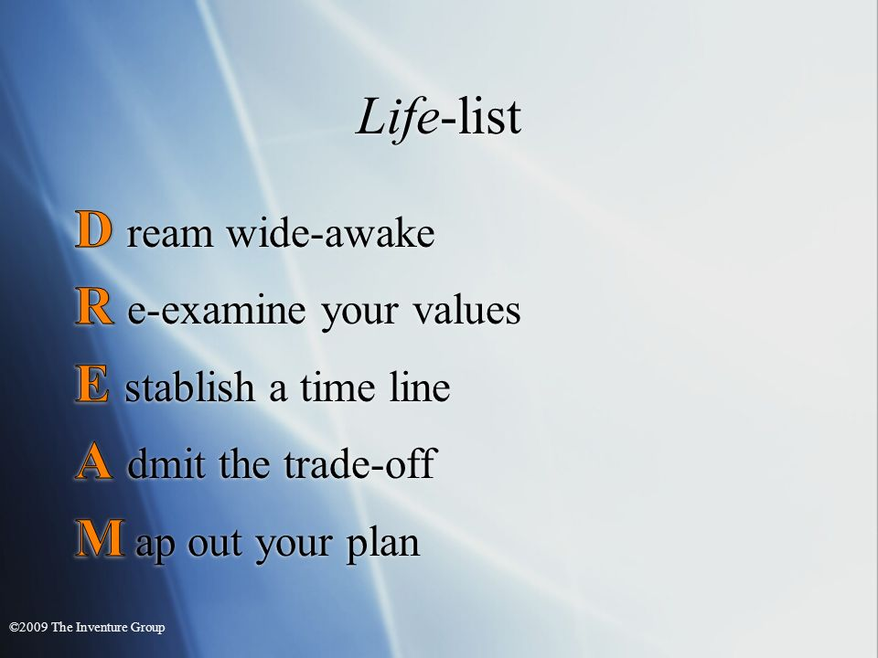 Life-list ©2009 The Inventure Group