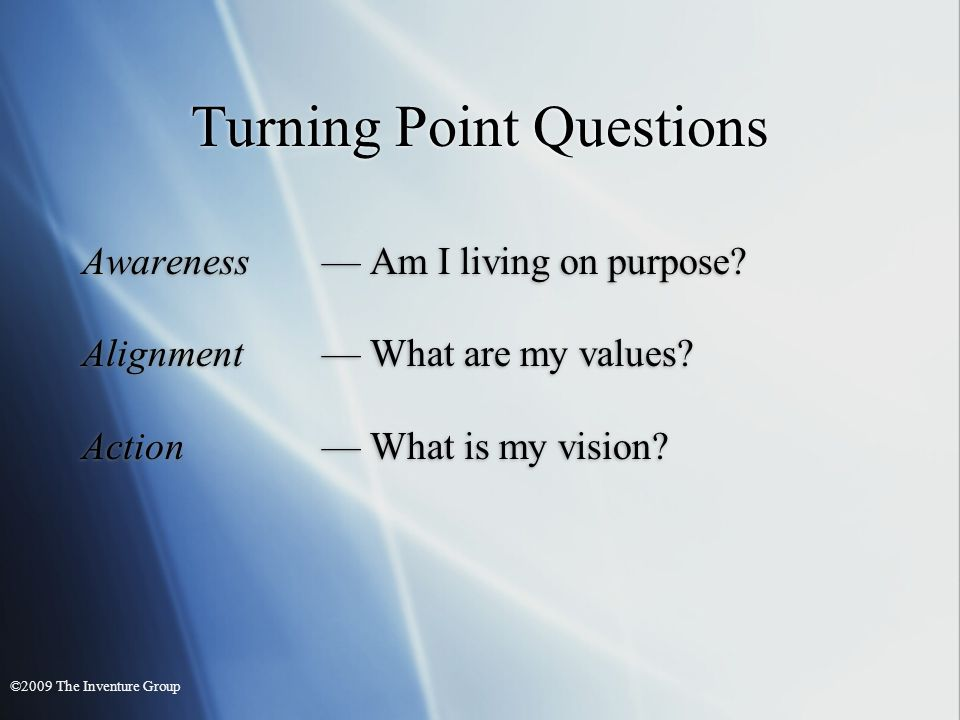 Turning Point Questions Awareness Am I living on purpose.