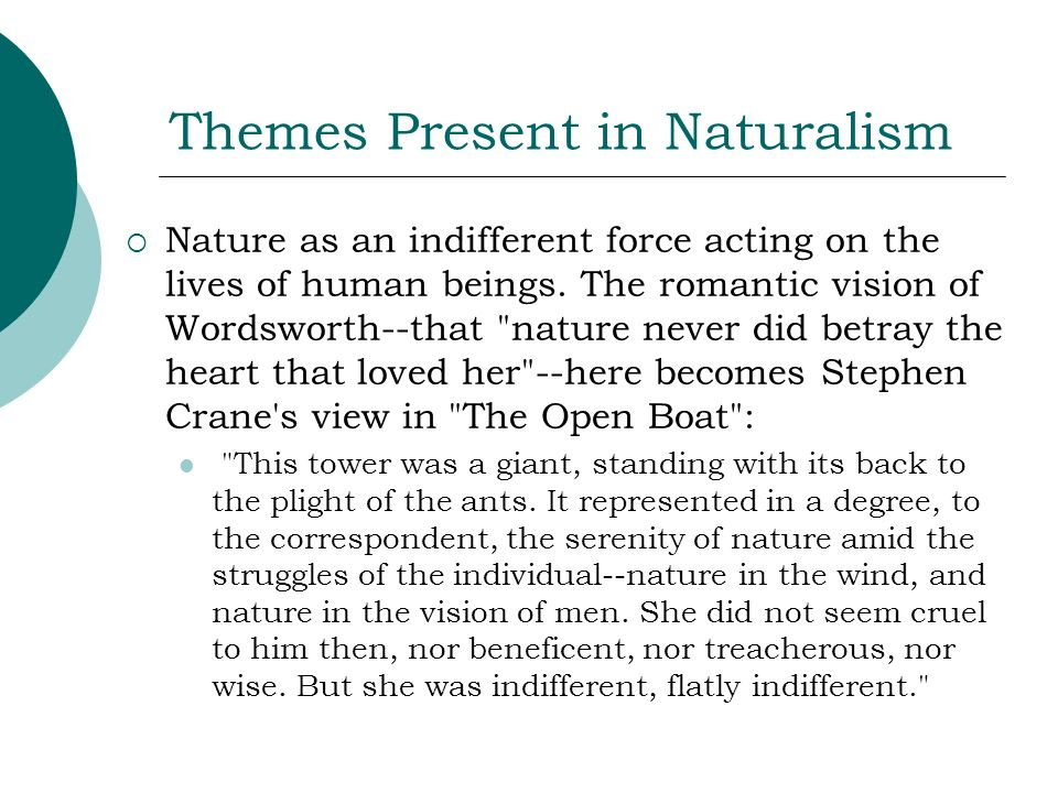 Themes Present in Naturalism Nature as an indifferent force acting on the lives of human beings. The romantic vision of Wordsworth--that