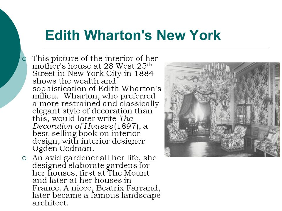 Edith Wharton's New York This picture of the interior of her mother's house at 28 West 25 th Street in New York City in 1884 shows the wealth and soph