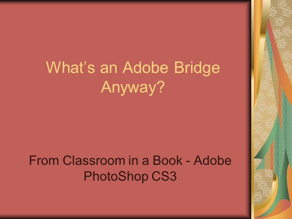 Whats an Adobe Bridge Anyway From Classroom in a Book - Adobe PhotoShop CS3