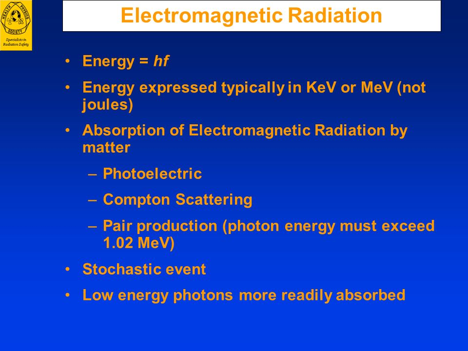 Electromagnetic Radiation Energy = hf Energy expressed typically in KeV or MeV (not joules) Absorption of Electromagnetic Radiation by matter –Photoel