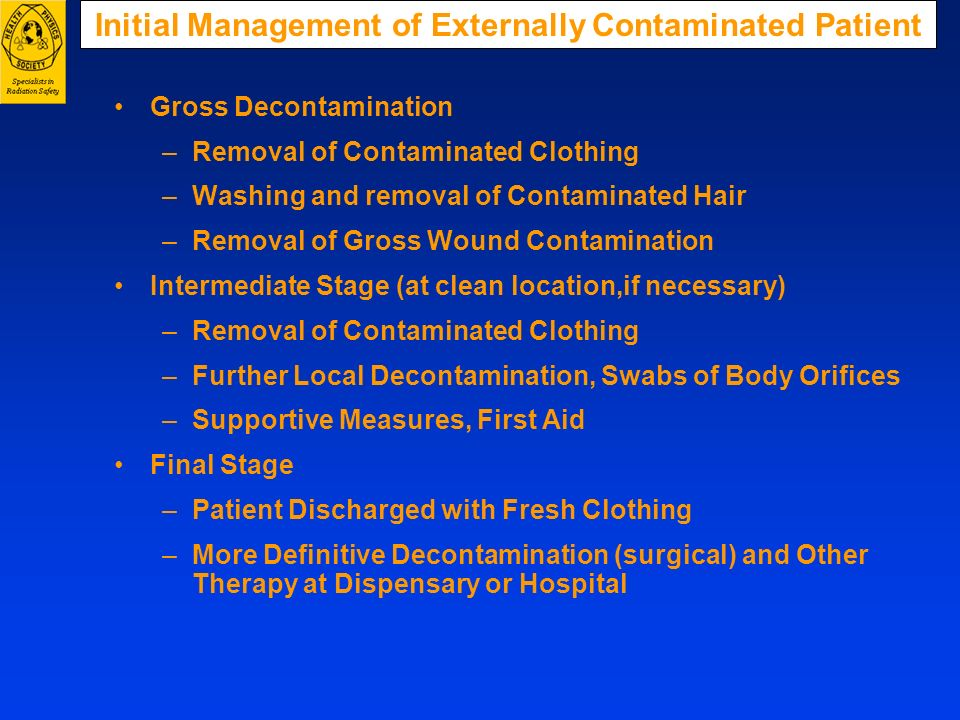 Initial Management of Externally Contaminated Patient Gross Decontamination –Removal of Contaminated Clothing –Washing and removal of Contaminated Hai
