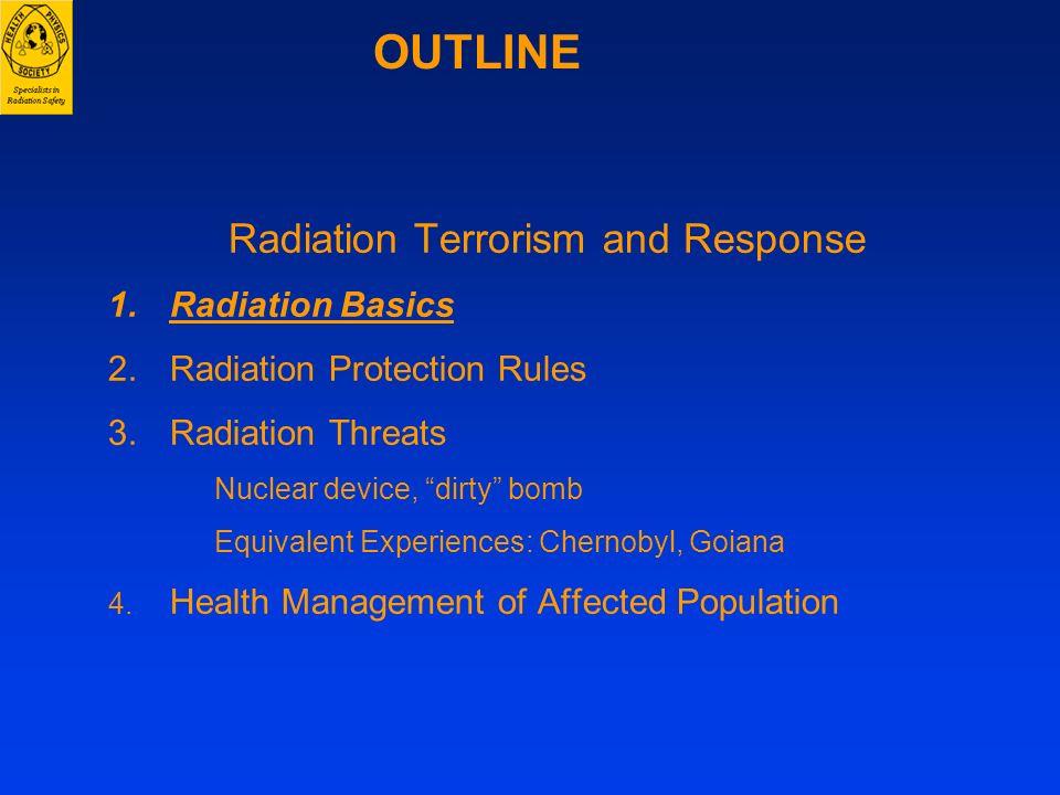 Radiation Terrorism and Response 1.Radiation Basics 2.Radiation Protection Rules 3.Radiation Threats Nuclear device, dirty bomb Equivalent Experiences