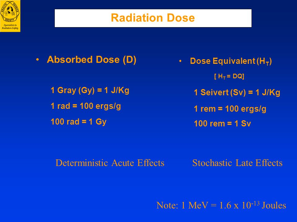 Radiation Dose Absorbed Dose (D) 1 Gray (Gy) = 1 J/Kg 1 rad = 100 ergs/g 100 rad = 1 Gy Dose Equivalent (H T ) [ H T = DQ] 1 Seivert (Sv) = 1 J/Kg 1 r
