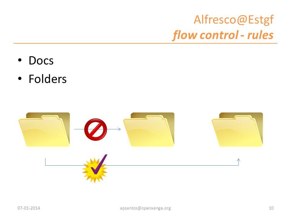 Alfresco@Estgf flow control - rules Docs Folders 07-01-201410apsantos@openxange.org
