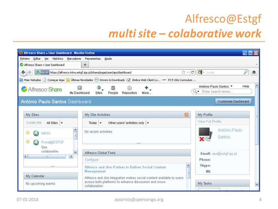 Alfresco@Estgf multi site – colaborative work 07-01-20144apsantos@openxange.org