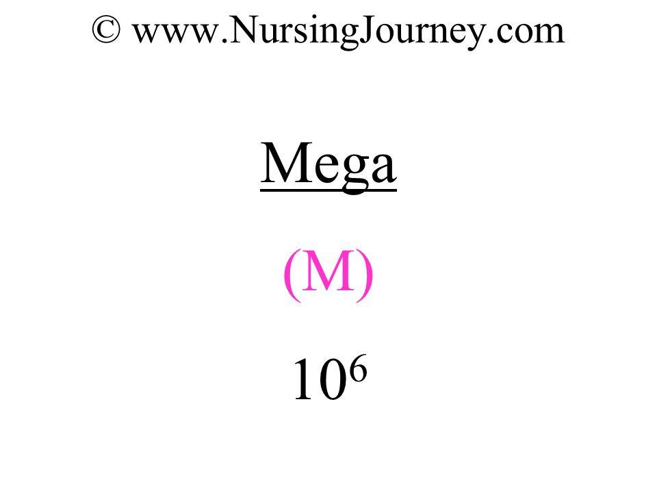 © www.NursingJourney.com Mega (M) 10 6