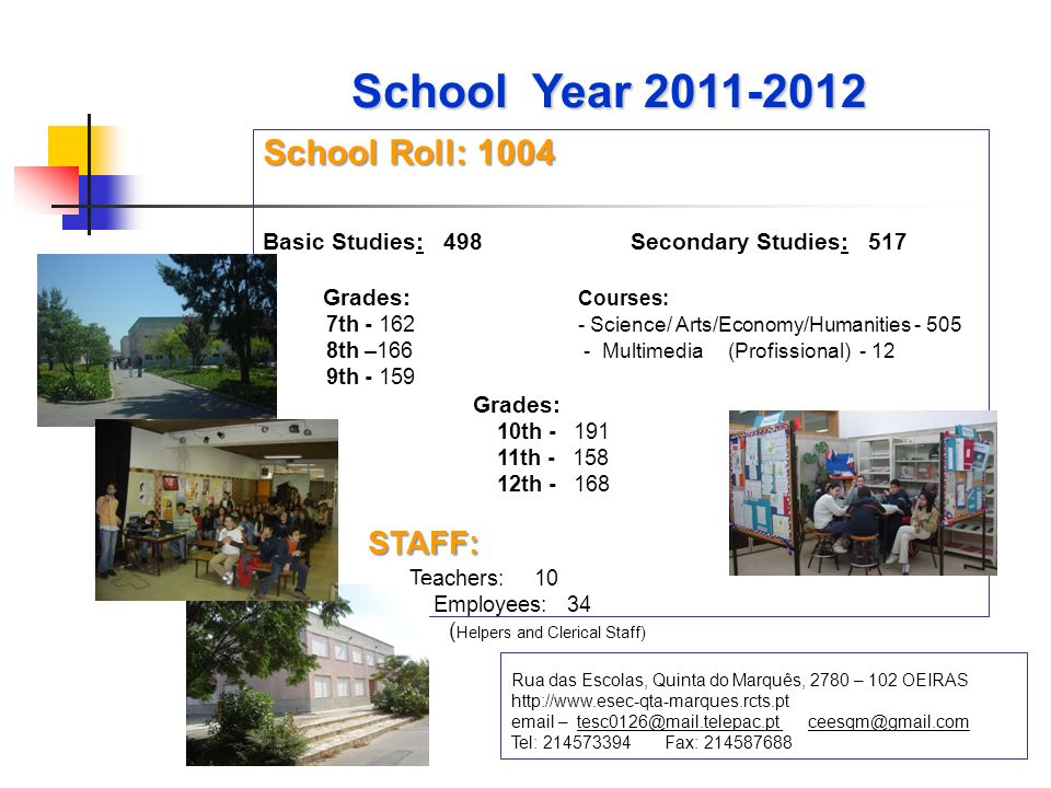 School Roll: 1004 Basic Studies: 498 Secondary Studies: 517 Grades: Courses: 7th - 162 - Science/ Arts/Economy/Humanities - 505 8th –166 - Multimedia (Profissional) - 12 9th - 159 Grades: 10th - 191 11th - 158 12th - 168STAFF: Teachers: 10 Employees: 34 ( Helpers and Clerical Staff) Rua das Escolas, Quinta do Marquês, 2780 – 102 OEIRAS http://www.esec-qta-marques.rcts.pt email – tesc0126@mail.telepac.pt ceesqm@gmail.com Tel: 214573394 Fax: 214587688 School Year 2011-2012