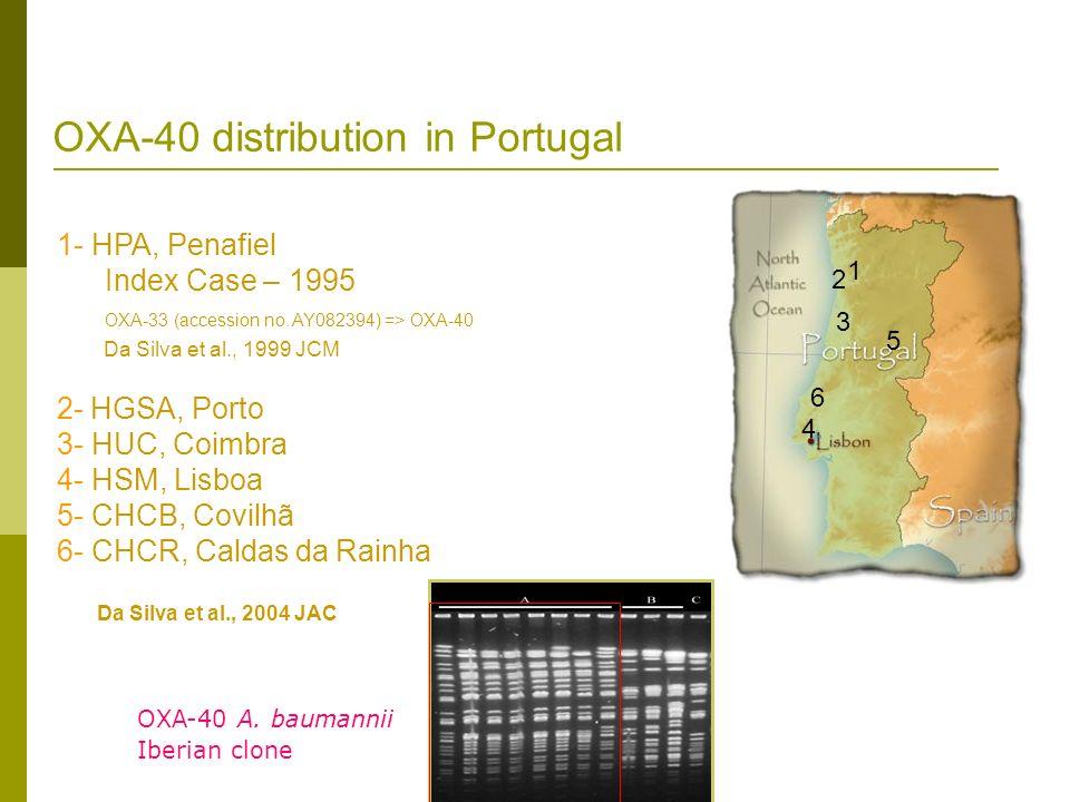 OXA-40 distribution in Portugal 1- HPA, Penafiel Index Case – 1995 OXA-33 (accession no. AY082394) => OXA-40 Da Silva et al., 1999 JCM 2- HGSA, Porto