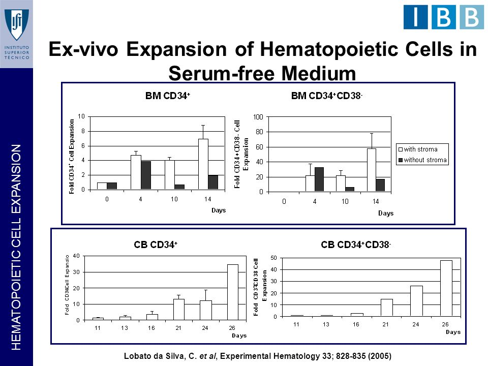 HEMATOPOIETIC CELL EXPANSION Ex-vivo Expansion of Hematopoietic Cells in Serum-free Medium Lobato da Silva, C. et al, Experimental Hematology 33; 828-