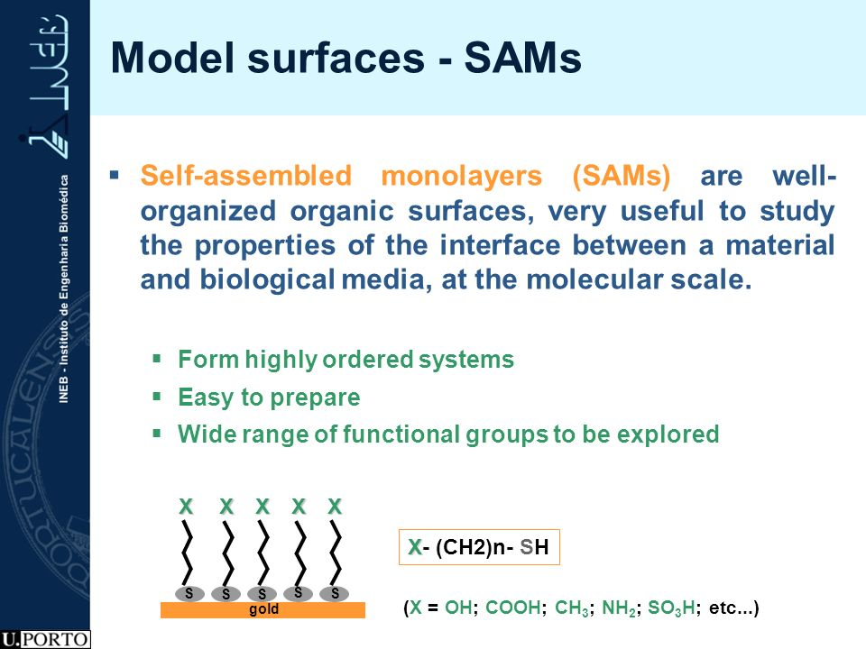 Model surfaces - SAMs Self-assembled monolayers (SAMs) are well- organized organic surfaces, very useful to study the properties of the interface betw