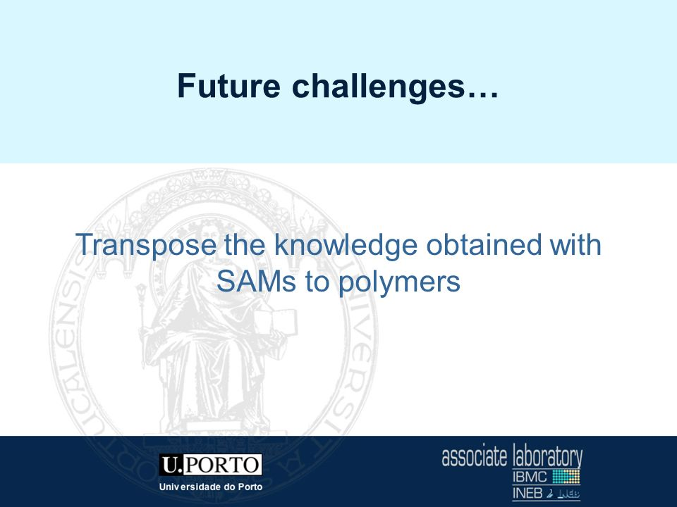 INEB - Instituto de Engenharia Biomédica Future challenges… Transpose the knowledge obtained with SAMs to polymers